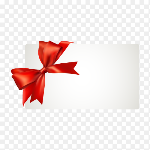 White paper card with gift red satin bow Premium vector PNG.png