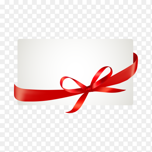 White paper card with gift red satin bow on transparent background PNG.png