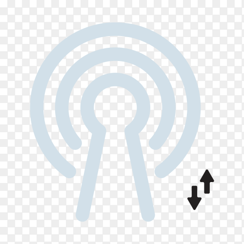 Wifi signal icon with flat design on transparent background PNG