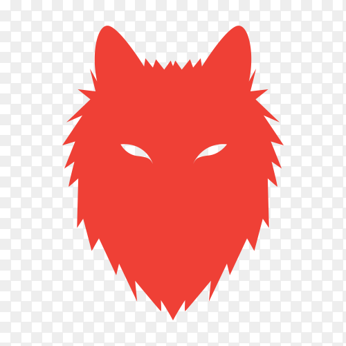 Wolf logo template on transparent background PNG