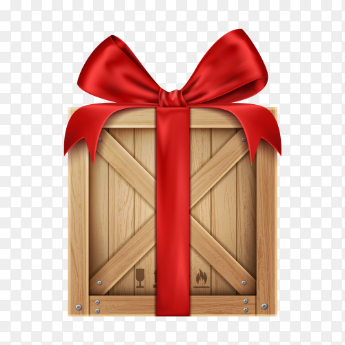 Wooden box with red ribbon and bow on transparent background PNG