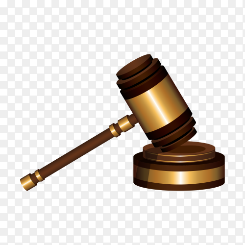 Wooden judges gavel on table in a courtroom or enforcement office on transparent background PNG