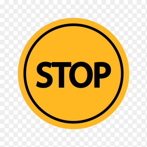 Yellow stop sign isolated on transparent background PNG