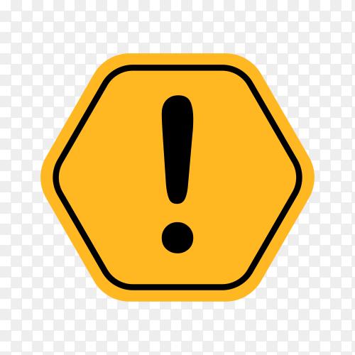 Yellow warning mark illustration on transparent background PNG