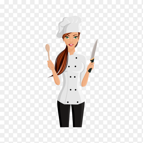 Young attractive woman in restaurant chef hat with knife and spatula isolated on transparent background PNG