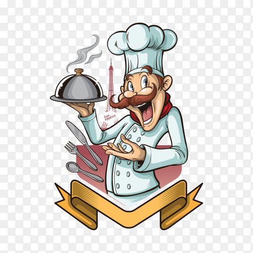 illustration of chef cook on transparent background PNG