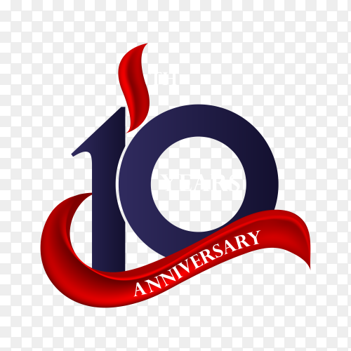 10 year anniversary celebration on transparent background PNG