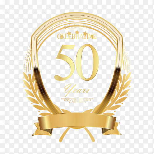 50 year anniversary template design illustration on transparent background PNG