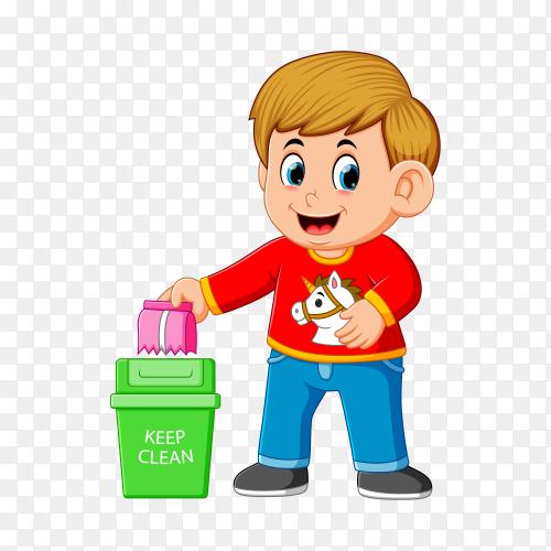 A boy throw trash in basket trash on transparent background PNG