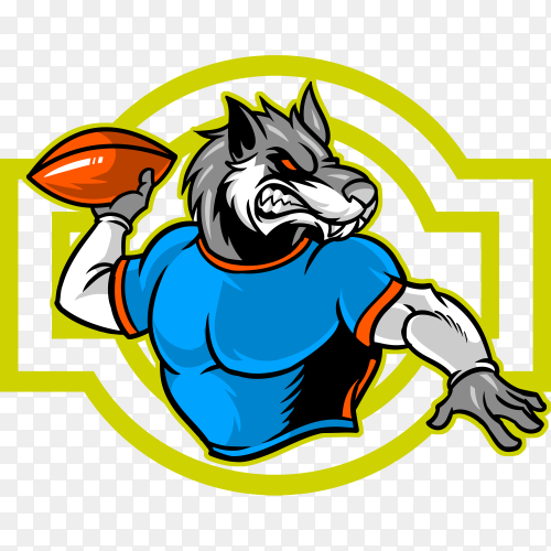 A sport emblem represented by a wolf that plays football on transparent background PNG