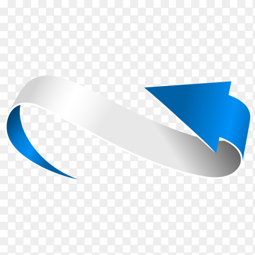 Abstract Curved Blue Arrow on transparent PNG