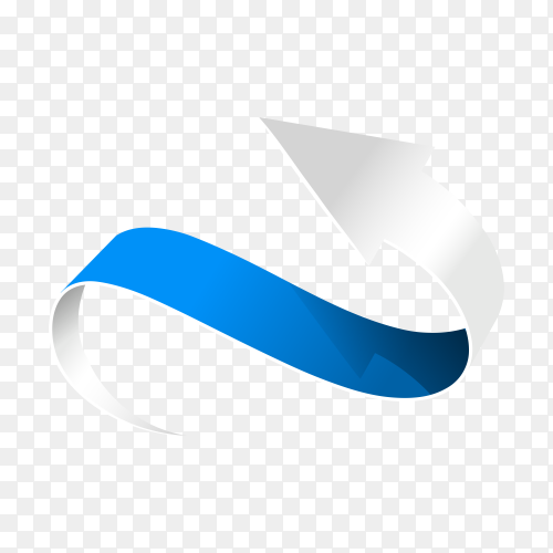 Abstract Curved Blue Arrow on transparent background PNG