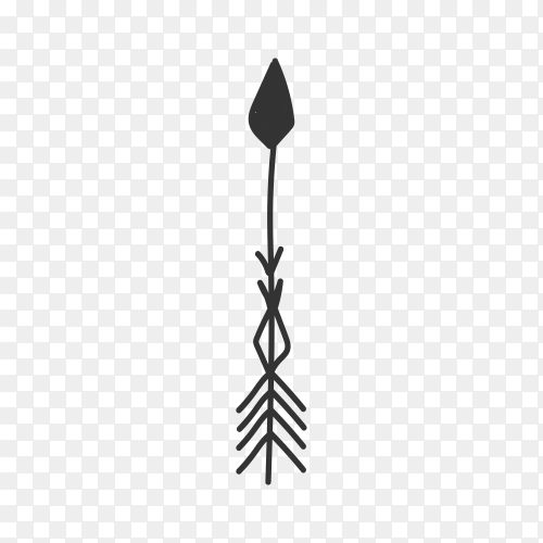Abstract black hand drawn arrow illustration on transparent background PNG