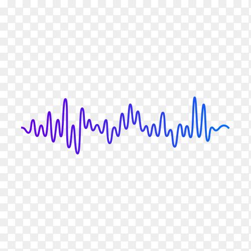 Abstract blue digital equalizer, vector of sound wave pattern element on transparent background PNG