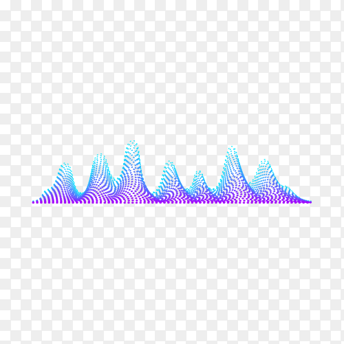 Abstract flowing wavy lines. Colorful dynamic wave isolated on transparent background PNG