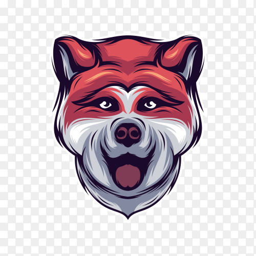 Akita dog logo on transparent background PNG
