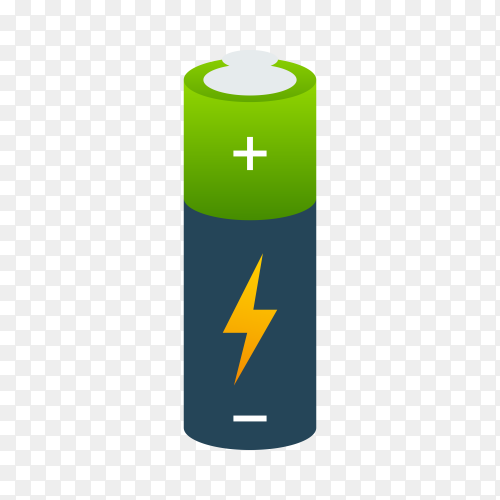 Alkaline battery realistic style on transparent background PNG