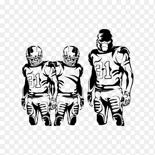 American football player. Quarterback isolated on transparent background PNG