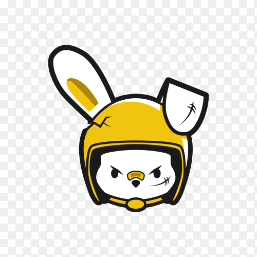 Angry female rabbit wear helmet rider on transparent background PNG