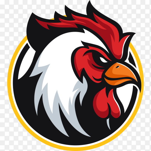 Angry rooster mascot logo cartoon design illustration on transparent background PNG