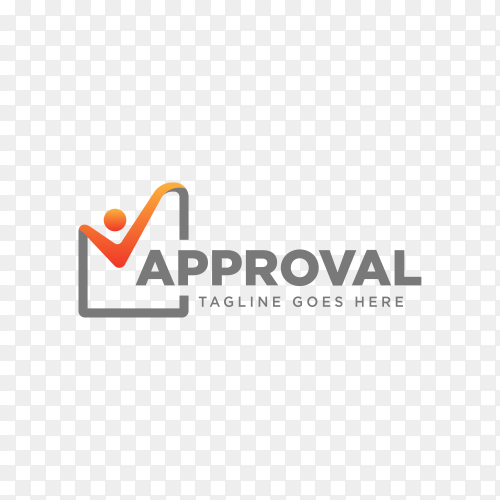 Approval Check, checking logo template on transparent background PNG