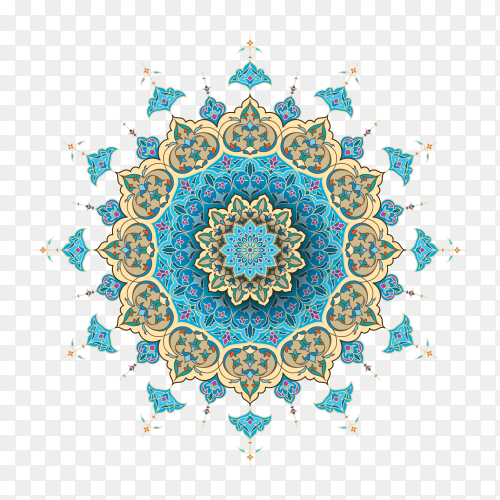 Arabic floral Islamic on transparent background PNG