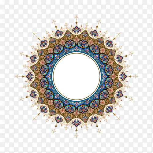 Arabic ornament classic floral round circle on transparent background PNG