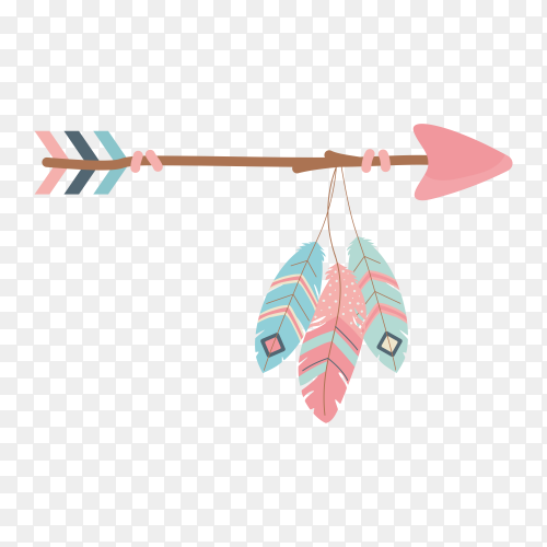 Arch and arrow with feathers decoration boho style on transparent background PNG