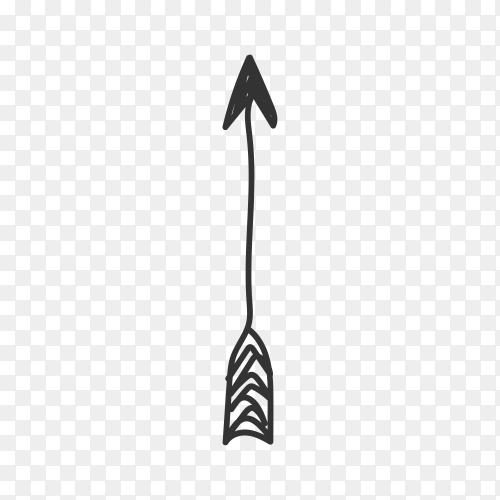 Arrow doodle on transparent background PNG