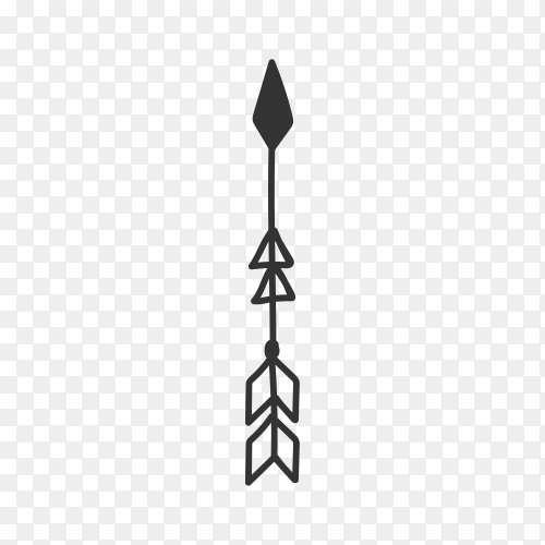 Arrow icon hand drawn . Arrow doodle isolated on transparent background PNG