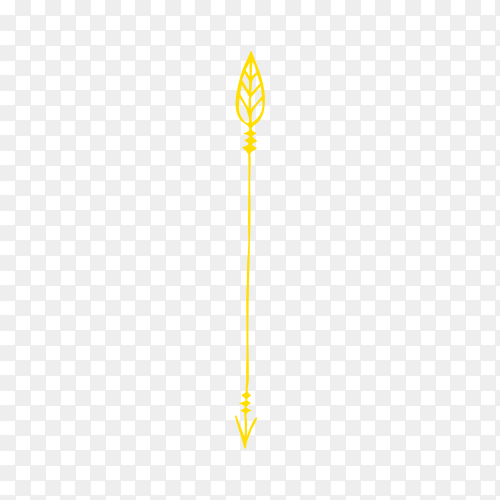 Arrow in yellow color on transparent background PNG