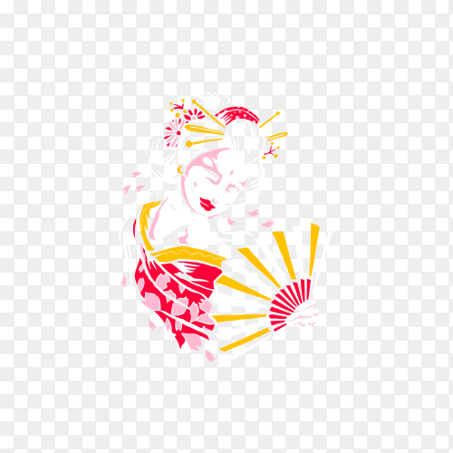 Artistic Japanese geisha illustration on transparent background PNG