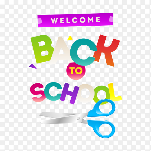 Back to school banner with typography letter on transparent background PNG