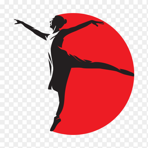 Ballet dancers silhouettes logo on transparent background PNG