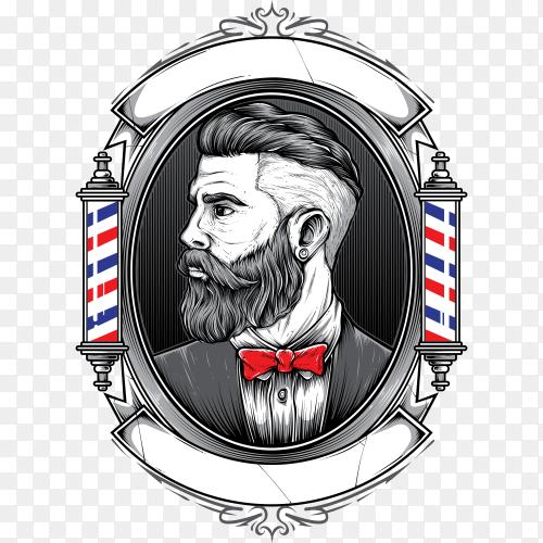 Barber shop logo design on transparent background PNG