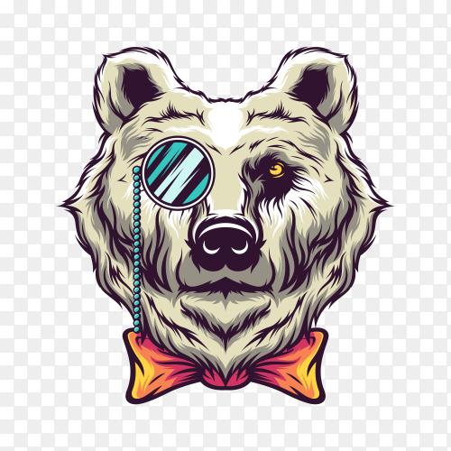 Bear Head Logo on transparent background PNG