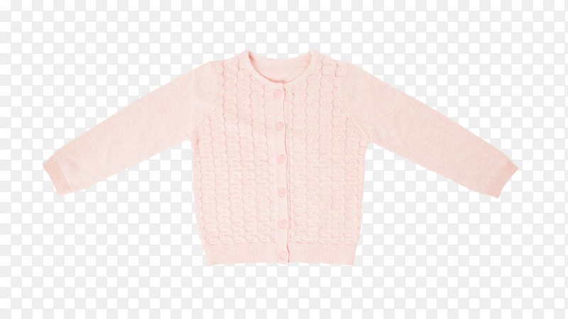 Beautiful, luxurious, knitted cardigan in pink, autumn, winter, warm on transparent background PNG