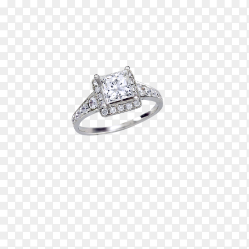 Beautiful Cut diamond engagement wedding ring set in platinum, silver or white gold on transparent background PNG