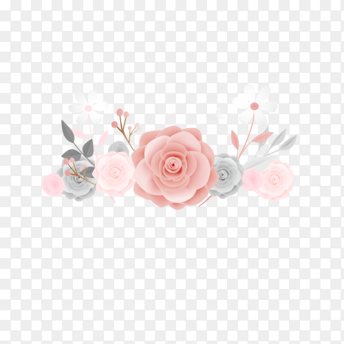 Beautiful floral paper art with butterfly on transparent background PNG