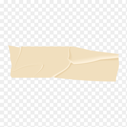 Beige adhesive or masking tape piece with torn edge realistic style on transparent background PNG