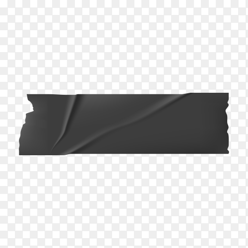 Black Adhesive Isolated Scotch Sticky Tape Piece on transparent background PNG