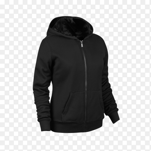 Black Sweatshirt with long sleeve on transparent background PNG