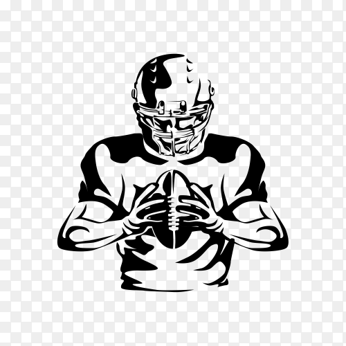 Black and White American Football Player Illustration on transparent background PNG