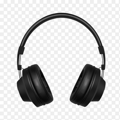Black headphone isolated on transparent background PNG