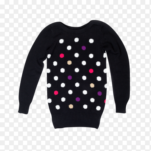 Black sweater with a pattern of polka dots on transparent background PNG