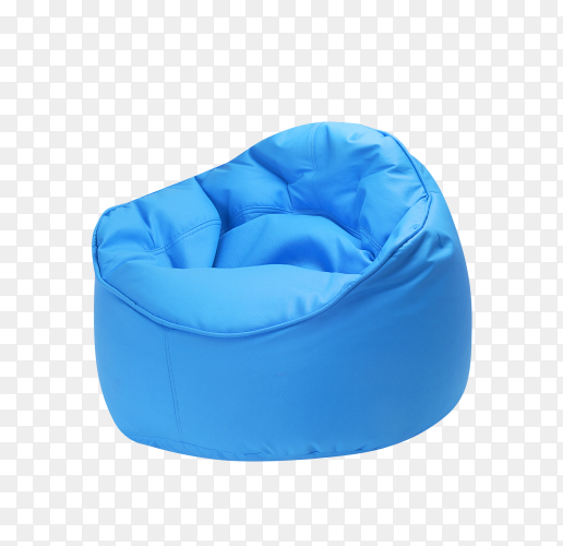 Blue beanbag for living room on transparent background PNG