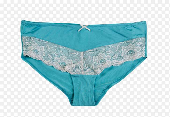 Blue female panties on transparent background PNG