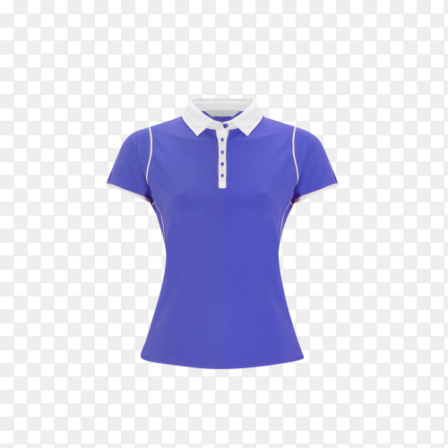 Blue polo t-shirt on transparent background PNG