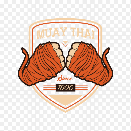 Boxing Muay Thai Fighter Logo on transparent background PNG