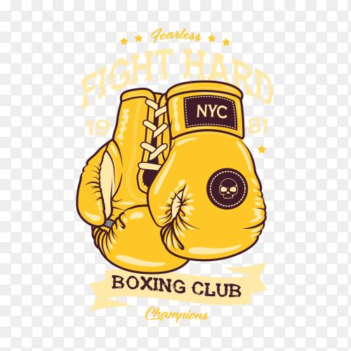 Boxing club logo, emblem, badge, sign. Illustration of boxing gloves on transparent background PNG